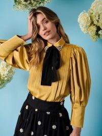 sister jane Sunny Spot Pleated Blouse in Gold   pleat detail volume sleeve blouses