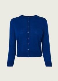 L.K. BENNETT BONNIE COBALT BLUE MERINO WOOL CARDIGAN / classic button up cardigans