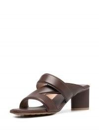 Bottega Veneta crossover-strap leather sandals in chocolate brown