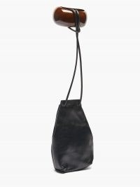JIL SANDER Bracelet-handle leather bucket pouch / black drawstring pouches