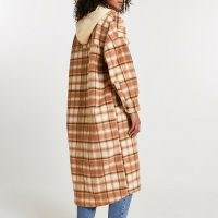 RIVER ISLAND Brown check print hooded longline shacket / checked shackets with hood / long length