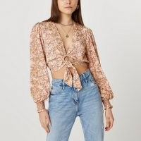 River Island Brown printed ring front tie blouse top | plunge front summer tops | crop hem | O ring detail