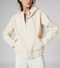 REISS CALI WOOL BLEND HOODED JACKET NEUTRAL