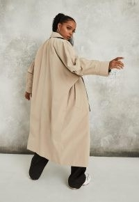 Missguided camel statement sleeve trench coat | batwing coats