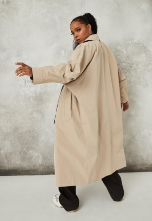 Missguided camel statement sleeve trench coat | batwing coats - flipped