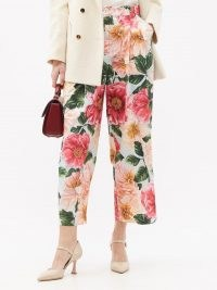 DOLCE & GABBANA Camellia-print cotton wide-leg trousers ~ floral crop leg pants ~ beautiful Italian clothing
