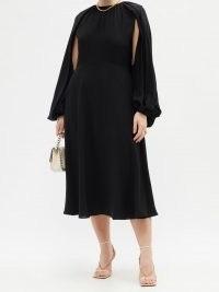 VALENTINO Cape-sleeve silk-georgette midi dress ~ LBD