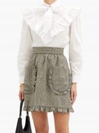 BATSHEVA Carol tie-neck cotton-poplin blouse ~ romantic victorian style ruffle trim blouses
