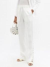 ALTUZARRA Catkin buttoned linen-blend straight-leg trousers / white button hem pants