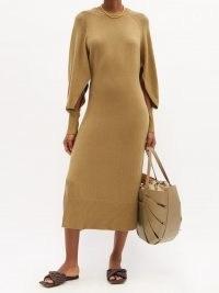 ALTUZARRA Chamomile slit-sleeve knitted midi dress / chic split sleeve sweater dresses