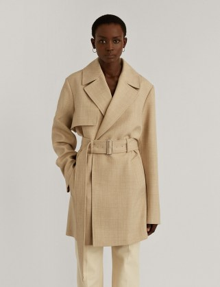 JOSEPH Wool Twill Chasy Coat ~ relaxed fit mid-length coats ~ contemporary trench - flipped