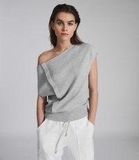 REISS CHRISTA KNITTED DRAPE DETAIL TOP GREY ~ asymmetric knit tops ~ contemporary knitwear