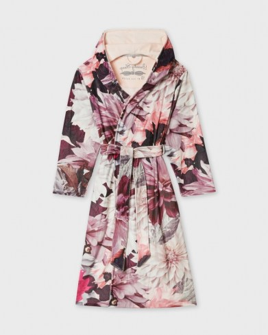 TED BAKER FROZE Clove print long robe / pink floral robes / dressing gowns - flipped