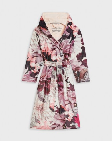 TED BAKER FROZE Clove print long robe / pink floral robes / dressing gowns