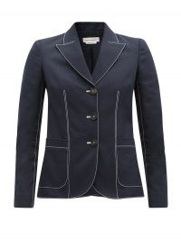 ALEXANDER MCQUEEN Contrast-stitch single-breasted cotton jacket in navy