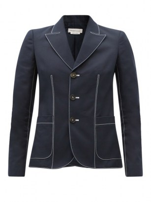 ALEXANDER MCQUEEN Contrast-stitch single-breasted cotton jacket in navy - flipped