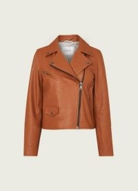 L.K. BENNETT COOPER TAN LEATHER BIKER JACKET / light brown casual jackets / classic zip detail outerwear