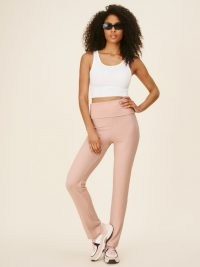 REFORMATION Coppelia Pant Blush ~ casual pink ribbed trousers ~ leggings