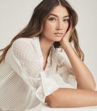 REISS CORA SEMI-SHEER SPOT DETAIL BLOUSE WHITE / feminine blouses