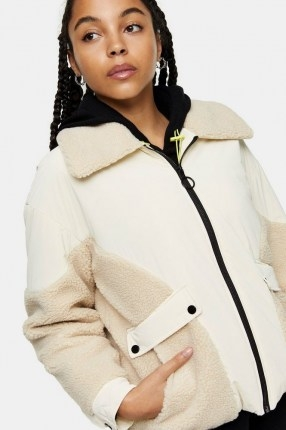 TOPSHOP Cream Bomber Jacket With Borg Trim - flipped