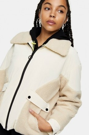 TOPSHOP Cream Bomber Jacket With Borg Trim