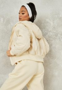Missguided cream borg teddy lined bomber jacket | hooded casual jackets