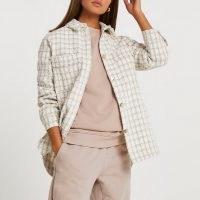 RIVER ISLAND Cream boucle Overshirt / textured check shirts / tweed style fabric overshirts