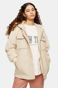 TOPSHOP Cream Corduroy And Borg Zip Hooded Jacket / textured faux fur jackets