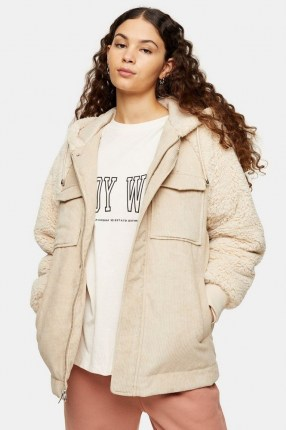 TOPSHOP Cream Corduroy And Borg Zip Hooded Jacket / textured faux fur jackets - flipped