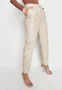 Missguided cream faux leather tailored carrot trousers
