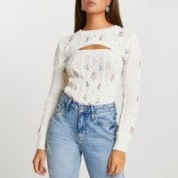River Island Cream floral embroidery 2 in 1 jumper