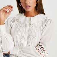 RIVER ISLAND Cream lace cut out detail blouse ~ collared button down blouses