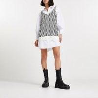RIVER ISLAND Cream RI monogram knitted shirt dress / logo fashion / collared dresses