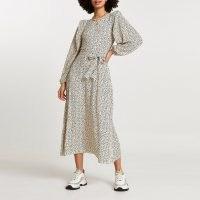 River Island Cream spot print plisse tie waist midi dress | long volume sleeve dresses