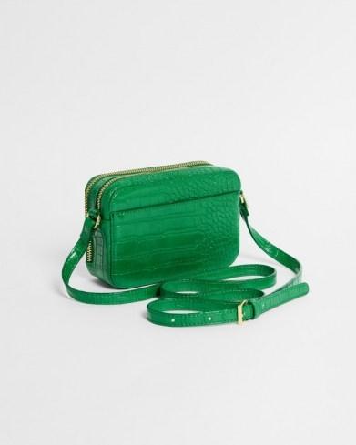 TED BAKER STINA Croc effect camera bag in Green ~ crocodile embossed crossbody - flipped
