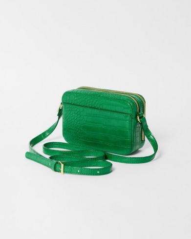 TED BAKER STINA Croc effect camera bag in Green ~ crocodile embossed crossbody