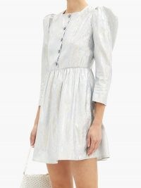 BATSHEVA Crystal-button metallic twill mini dress ~ luxe puff sleeve prairie dresses