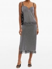 CHRISTOPHER KANE Crystal-chainmail lace-trimmed wrap skirt – silver metallic overlay skirts