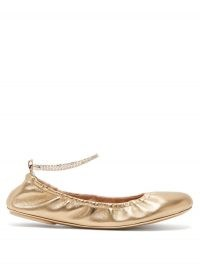 GIANVITO ROSSI Crystal-embellished anklet-chain leather pumps in metallic-gold ~ luxe flats