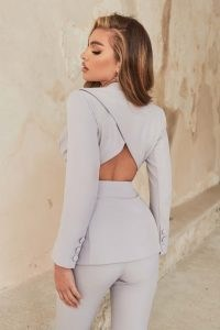 LAVISH ALICE cut out open back tailored jacket in grey blue ~ going out evening jackets