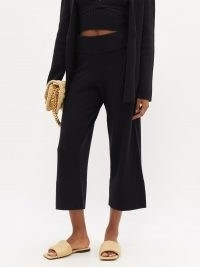 ALTUZARRA Cynthia cropped knitted wide-leg trousers / black crop leg pants