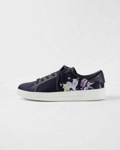 TED BAKER DELYLAN Decadence print satin trainer / navy blue floral trainers / luxe low tops - flipped