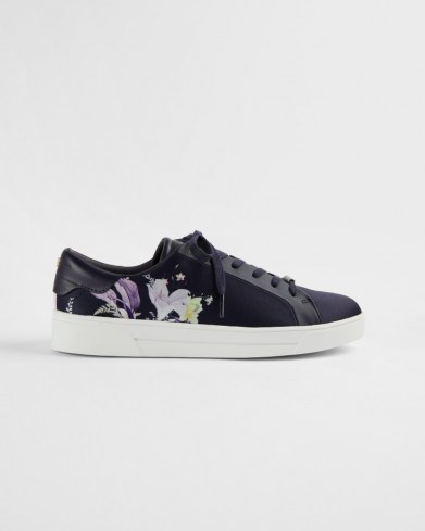 TED BAKER DELYLAN Decadence print satin trainer / navy blue floral trainers / luxe low tops