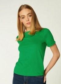 L.K. BENNETT DEE GREEN JERSEY RIC RAC TRIM T-SHIRT / scallop trim t-shirts