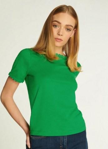 L.K. BENNETT DEE GREEN JERSEY RIC RAC TRIM T-SHIRT / scallop trim t-shirts - flipped