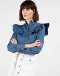 TED BAKER AVIIRA Denim Button Front Top – blue frill detail shirt
