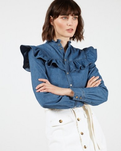 TED BAKER AVIIRA Denim Button Front Top – blue frill detail shirt - flipped