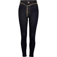 River Island Denim high rise bum sculpt skinny jeans   chain belt skinnies