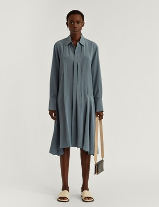 JOSEPH New Crepe de Chine Despente Dress in Blue Steel - flipped