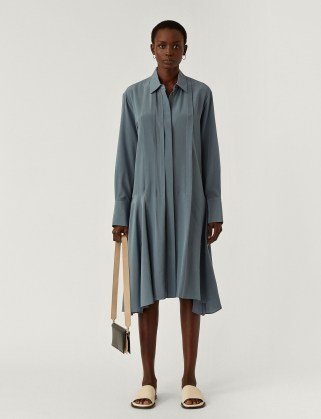 JOSEPH New Crepe de Chine Despente Dress in Blue Steel